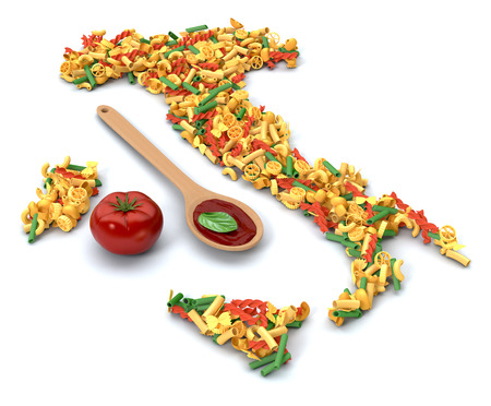 the map of italy made with different shapes of pasta, tomato and tomato sauce, white background (3d render)