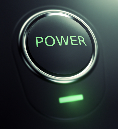 pushbutton: one button with text: power (3d render)