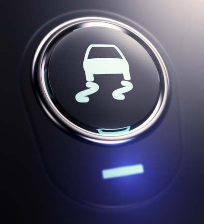 one button with traction control symbol (3d render) Stockfoto