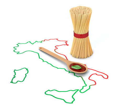 tomato sauce: bunch of spaghetti with the map of italy and a ladle with tomato sauce, white background (3d render)