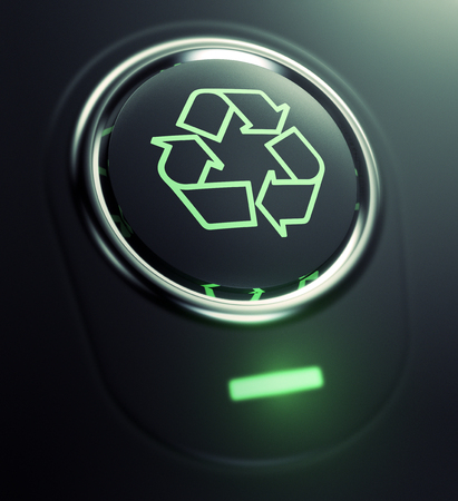ecological environment: one button with recycling symbol (3d render)