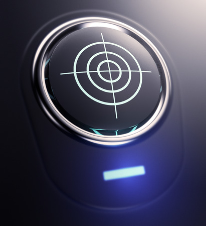 achieve goal: one button with target symbol (3d render) Stock Photo