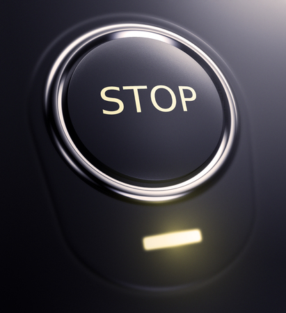 black button: one button with text: stop (3d render)