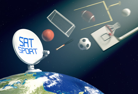 antenna: sat dish on top of a world globe, with symbols of various sports falling from the sky, concept of worldwide broadcast (3d render)- Elements of this image furnished by NASA