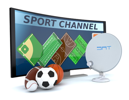 sat: curved tv with symbols of various sports and a sat dish (3d render) Stock Photo