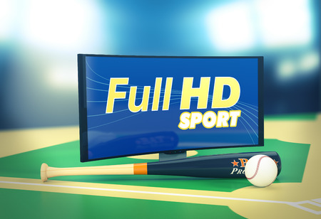 full hd: curved tv with full hd on screen, a baseball ball and bat, on a baseball field (3d render)
