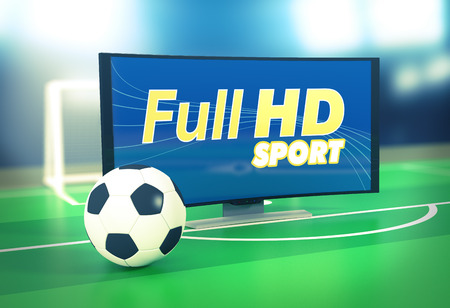 soccer balls: curved tv with full hd on screen and a soccer ball, on a soccer field (3d render)