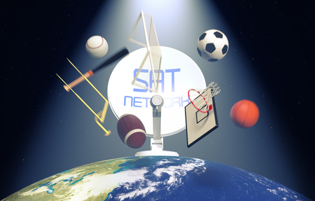 broadcast: sat dish on top of a world globe, with symbols of various sports falling from the sky, concept of worldwide broadcast (3d render)- Elements of this image furnished by NASA