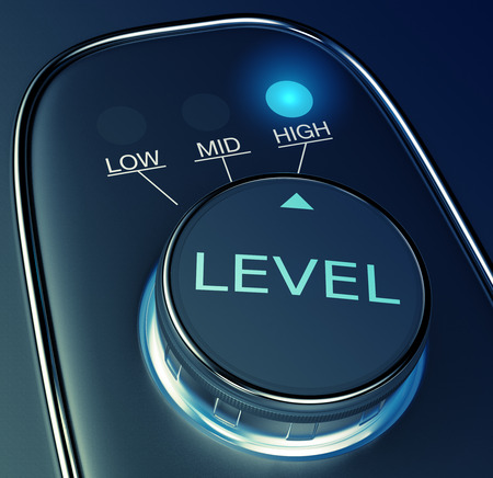 levels: knob with concept of high level (3d render)