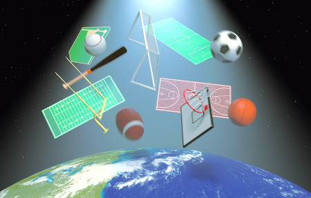 broadcasting: symbols of various sports falling from the sky, concept of satellite worldwide broadcast (3d render)- Elements of this image furnished by NASA