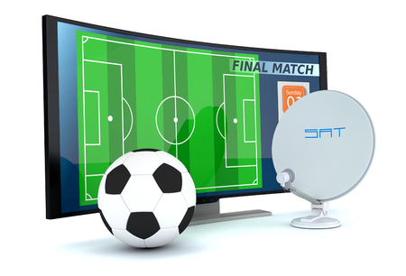 sat: curved tv with a soccer ball and a sat dish on white background (3d render) Stock Photo
