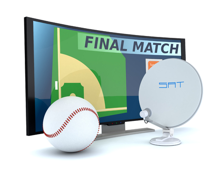 sat: curved tv with a baseball ball and a sat dish on white background (3d render) Stock Photo
