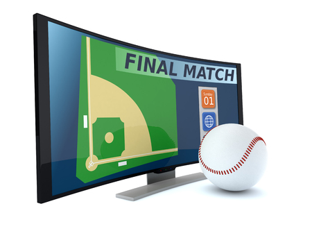 digital media: curved tv with a baseball ball on white background (3d render) Stock Photo