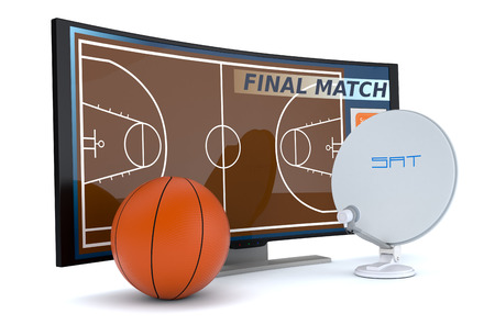 sat: curved tv with a basketball and a sat dish on white background (3d render) Stock Photo