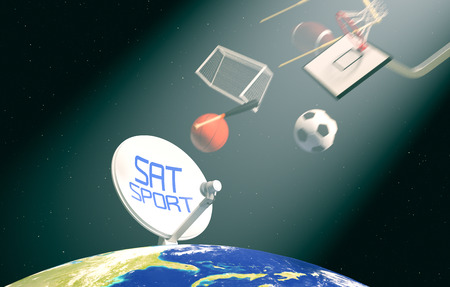 sat: sat dish on top of a world globe, with symbols of various sports falling from the sky, concept of worldwide broadcast (3d render)- Elements of this image furnished by NASA