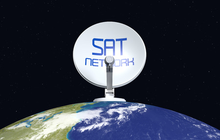 telecommunications technology: front view of a sat dish on top of a world globe, concept of worldwide broadcast (3d render)- Elements of this image furnished by NASA