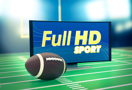 telecommunications technology: curved tv with full hd on screen and a football ball, on a football field (3d render)