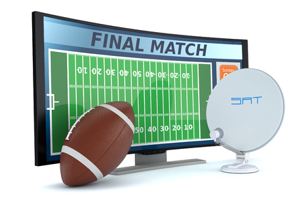 american media: curved tv with a football ball and a sat dish on white background (3d render) Stock Photo