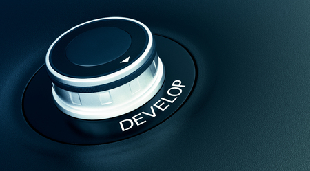 evolve: knob with arrow pointing to the word: develop (3d render)