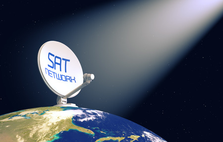sat: sat dish on top of a world globe, with a cone of light coming from the sky, concept of worldwide broadcast (3d render)- Elements of this image furnished by NASA Stock Photo