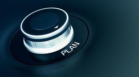 selector: knob with arrow pointing to the word: plan (3d render)