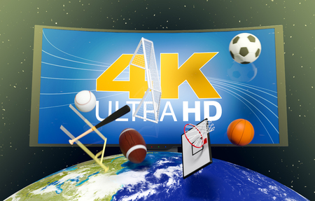 top of the world: curved tv with 4k on screen, on top of a world globe, with symbols of various sports falling from the sky, concept of worldwide broadcast (3d render)- Elements of this image furnished by NASA