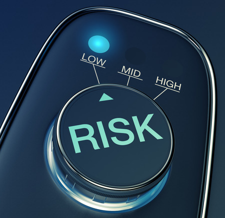 低リスクの概念とノブ (3 d レンダリング)