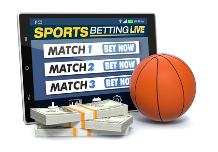 bets: tablet pc with app for sport bets, stacks of banknotes and a basketball ball, concept of online bets (3d render)