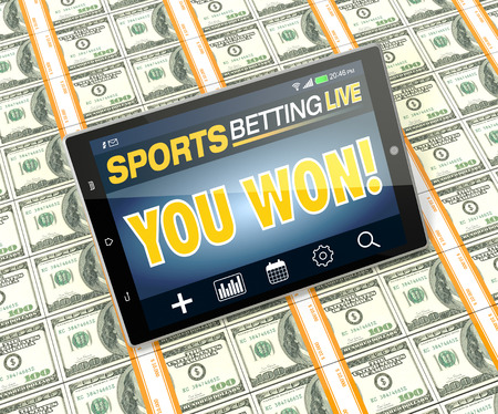 electronic tablet: tablet pc with app for sport bets, on top of stacks of banknotes, white background, concept of online bets (3d render) Stock Photo