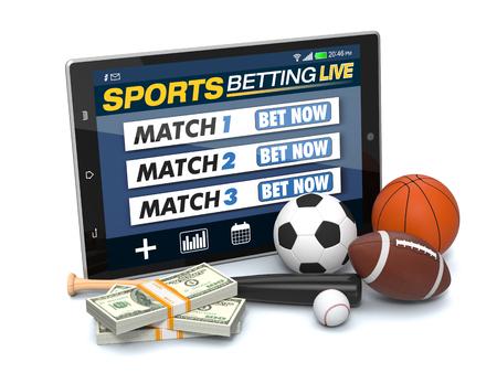 deporte: Tablet PC con aplicación para las apuestas deportivas, apila en montones de billetes y símbolos de diferentes deportes, el concepto de apuestas en línea (3d)