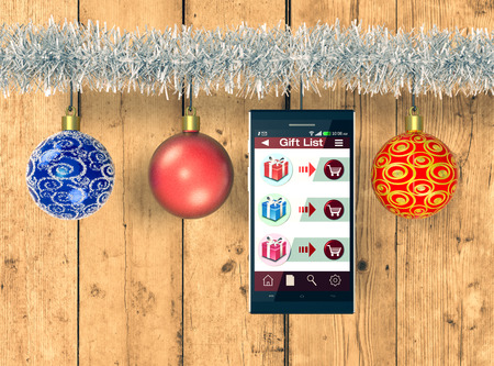 smartphone with an app for online shopping and christmas decorations wooden background 3d render
