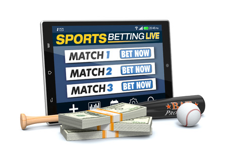 bets: tablet pc with app for sport bets, stacks of banknotes,  baseball ball and bat, concept of online bets (3d render)