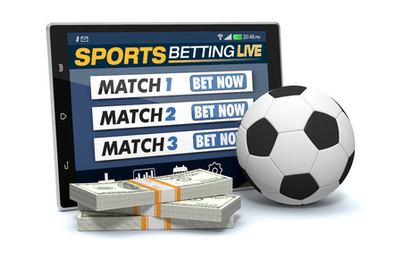 bets: tablet pc with app for sport bets, stacks of banknotes and a soccer ball, concept of online bets (3d render) Stock Photo