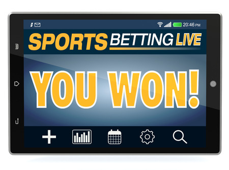 bets: tablet pc with app for sport bets, text: you won, white background, concept of online bets (3d render) Stock Photo