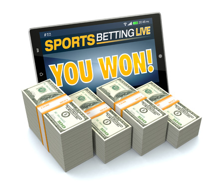 tablet pc with app for sport bets, stacks of banknotes, white background, concept of online bets (3d render)