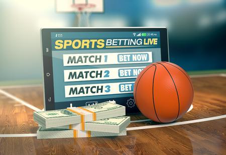 Tablet PC con app per scommesse sportive, pile di banconote e una palla da basket, il concetto di scommesse on-line (rendering 3d)