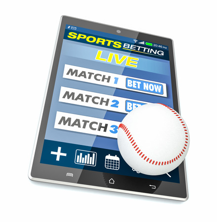 bets: tablet pc with app for sport bets,  baseball ball and bat, concept of online bets (3d render)