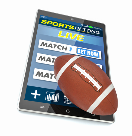 bets: tablet pc with app for sport bets and a football ball, concept of online bets (3d render) Stock Photo