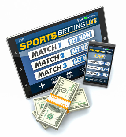bets: tablet pc and smartphone with app for sport bets, stacks of banknotes, white background, concept of online bets (3d render)