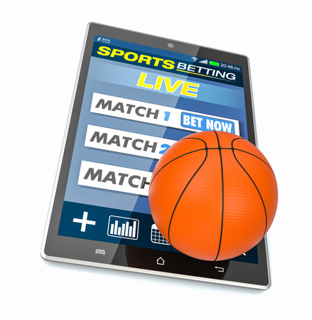 bets: tablet pc with app for sport bets and a basketball ball, concept of online bets (3d render)