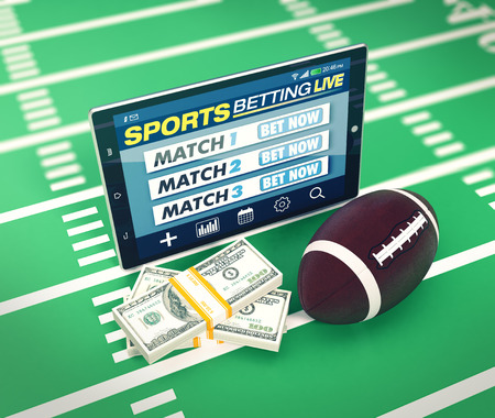 bets: tablet pc with app for sport bets, stacks of banknotes and a football ball, concept of online bets (3d render) Stock Photo