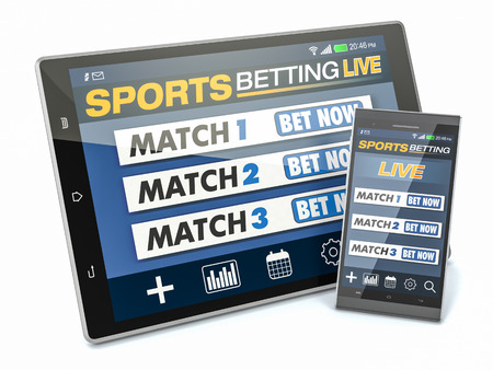 bets: tablet pc and smartphone with app for sport bets, white background, concept of online bets (3d render) Stock Photo