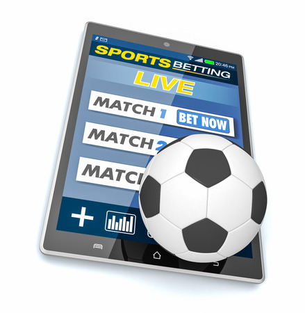 bets: tablet pc with app for sport bets and a soccer ball, concept of online bets (3d render)