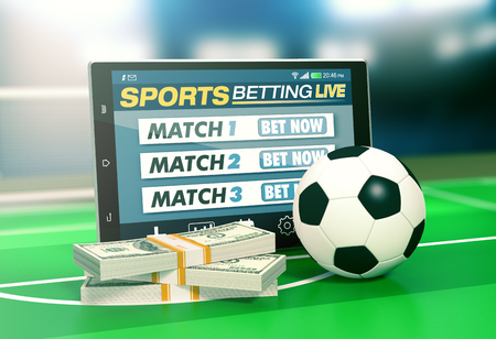 tablet pc with app for sport bets, stacks of banknotes and a soccer ball, concept of online bets (3d render) Archivio Fotografico