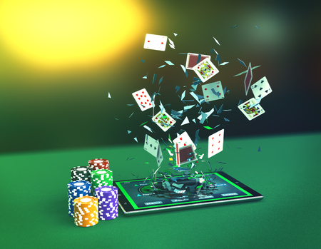 tablet pc with a poker app, stacks of poker chips and poker cards coming out by breaking the glass, concept of online gaming (3d render)