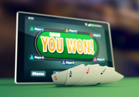 vista del primo piano di un tablet pc con una applicazione di poker a vincere situazione e quattro assi (rendering 3d) Archivio Fotografico
