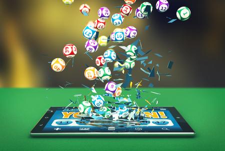 loteria: Tablet PC con una aplicación de lotería y lotería bolas que salen al romper el vidrio (3d)