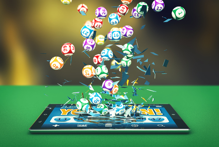 tablet pc with a lottery app and lottery balls coming out by breaking the glass (3d render) Archivio Fotografico