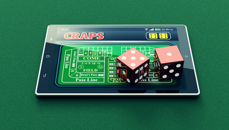 craps: tablet pc with a craps app and a couple of dice on green background (3d render)