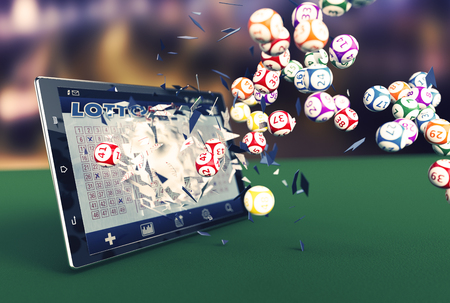 gambling: tablet pc with a lottery app and lottery balls coming out by breaking the glass (3d render) Stock Photo